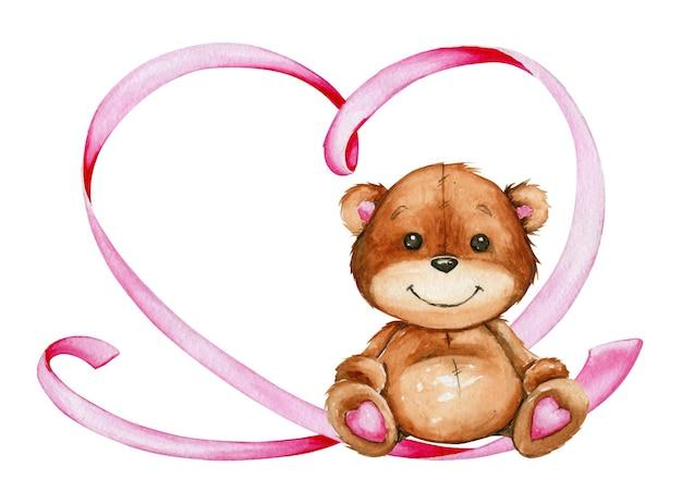 座っているかわいいクマ、ピンクのリボンで作られたハート。 Premiumベクター