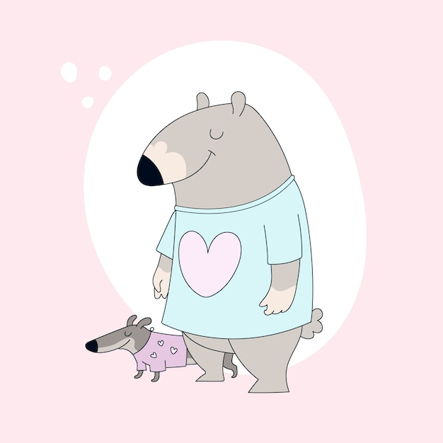 Cute bear in t-shirt and dachshund. Premium Vector