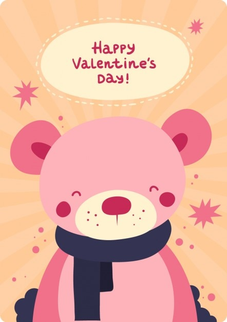 Cute bear valentines day card Vector – Download Valentine Day Card