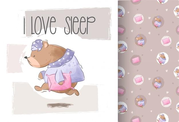 Cute bear wants to sleep seamless pattern Premium Vector