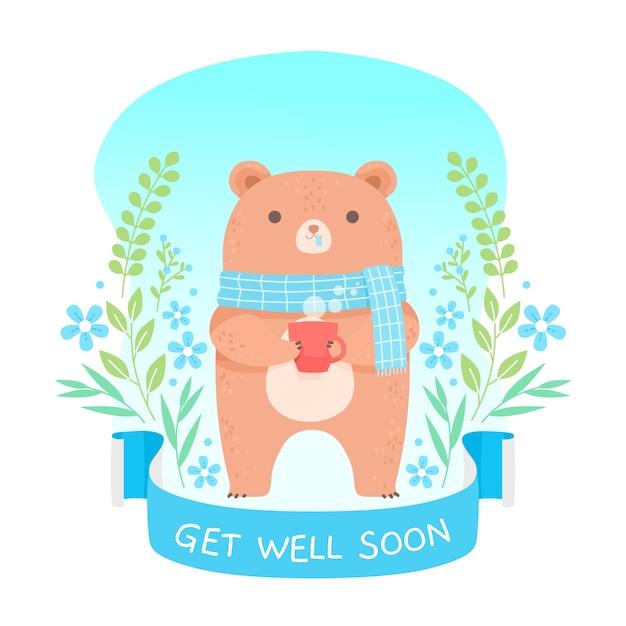 Милый медведь, желающий выздороветь в ближайшее время Premium векторы