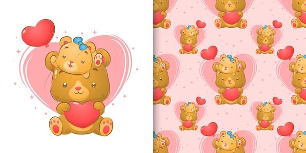 Милый медведь с медвежонком, держащим воздушные шары в виде сердца в бесшовной иллюстрации Premium векторы