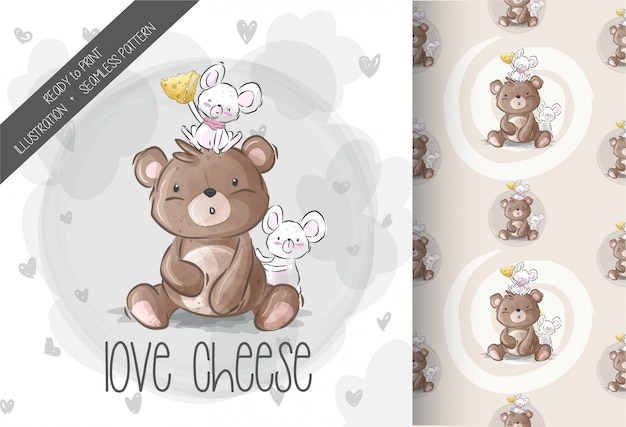 Cute bear with baby mouse love cheese seamless pattern Premium Vector