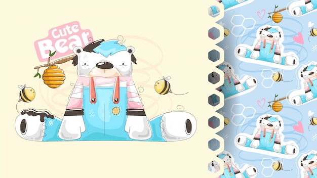 벌집, 아이 디자인을 가진 귀여운 곰 프리미엄 벡터