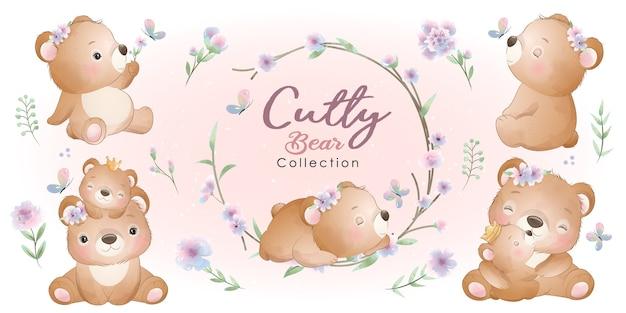 꽃 컬렉션 귀여운 곰 프리미엄 벡터