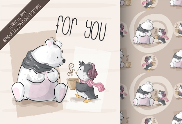 Cute bear with penguin illustration with seamless pattern Premium Vector