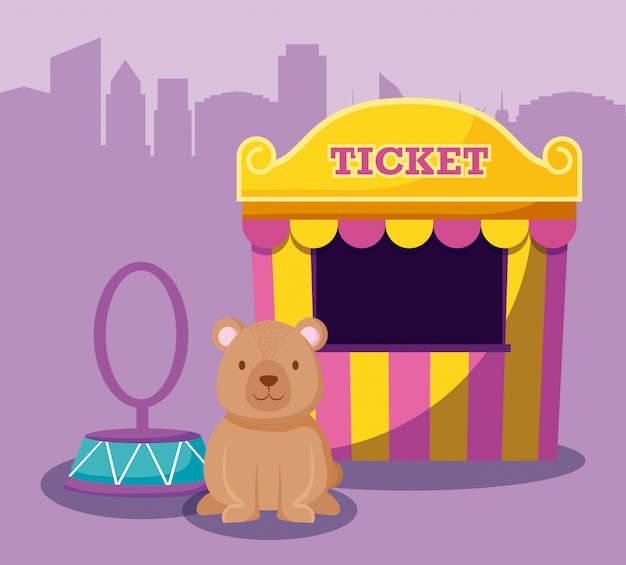 Cute bear with ticket sale tent Premium Vector