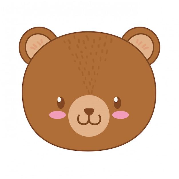 Cute bear woodland character Premium Vector