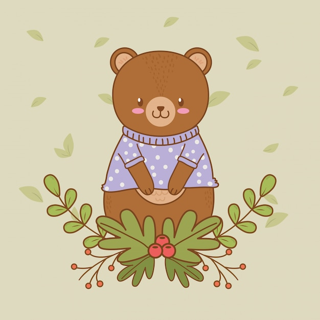 Cute bear woodland character Premium Vector