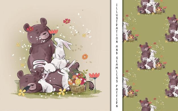 Симпатичные иллюстрации медведей и зайчиков для детей Premium векторы