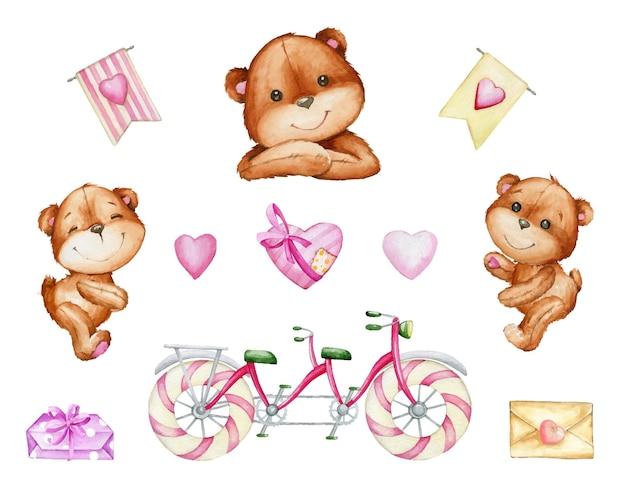 귀여운 곰, 탠덤 자전거, 하트, 선물, 편지. 격리 된 배경에 만화 스타일의 요소 수채화 세트. 프리미엄 벡터