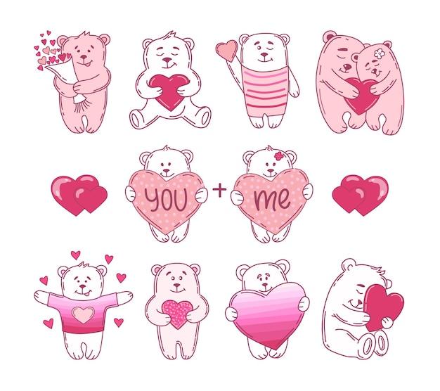 Набор милых медведей с сердечками. иллюстрация. Premium векторы