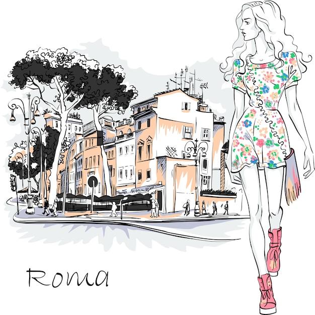 イタリア、ローマの旧市街の石松の木と典型的なローマの通りの夏のドレスでかわいい美しいファッションの女の子。 Premiumベクター