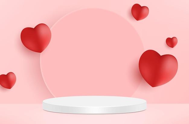 Симпатичный красивый розовый реалистичный подиум в форме сердца на день святого валентина Premium векторы