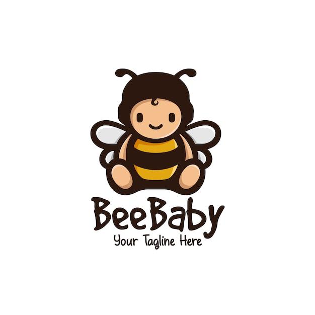 Cute bee baby mascot logo Premium Vector