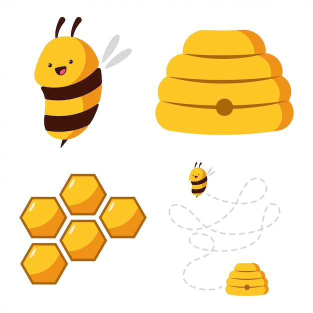 Cute bee, beehive, honeycomb with honey  cartoon set isolated on white background. Premium Vector