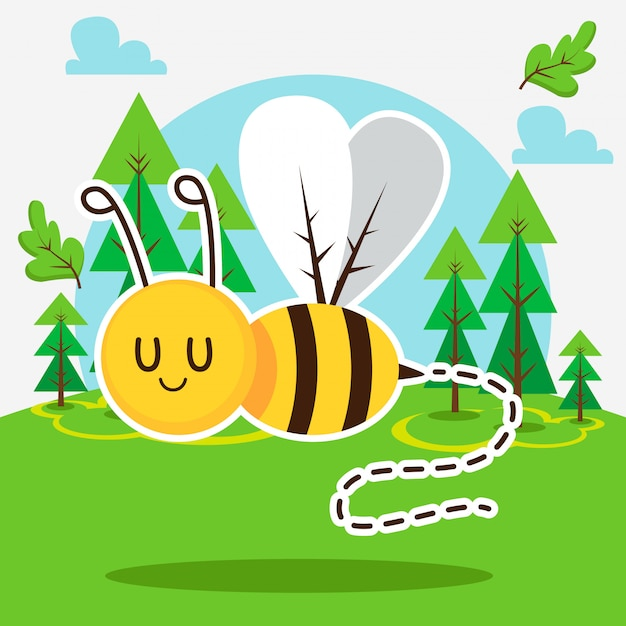 Cute bee in the forest Premium Vector
