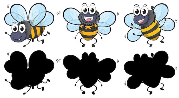 흰색 배경에 실루엣으로 세 위치에 귀여운 꿀벌 무료 벡터
