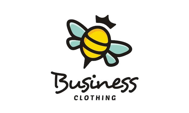 Cute bee queen logo design Premium Vector