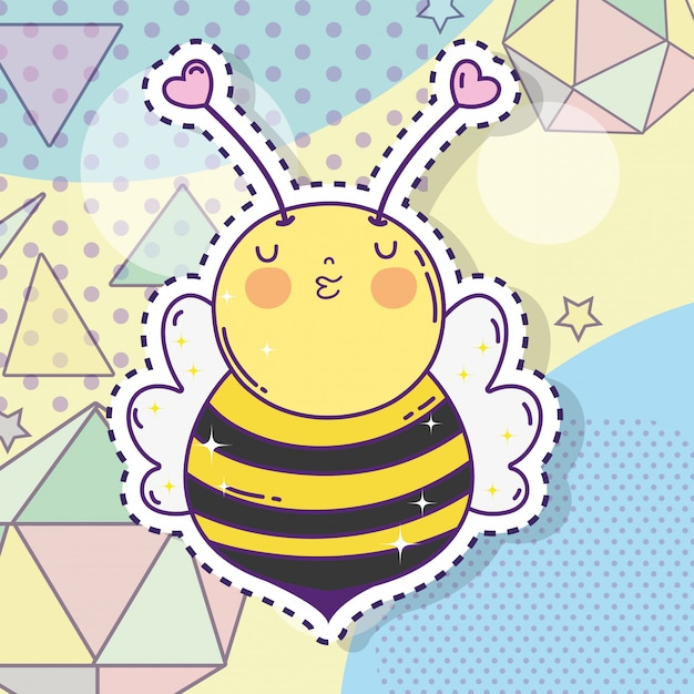 Cute bee sticker with stars and geometric figures Premium Vector
