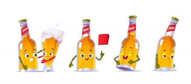 Simpatico personaggio di bottiglia di birra in diverse pose Vettore gratuito