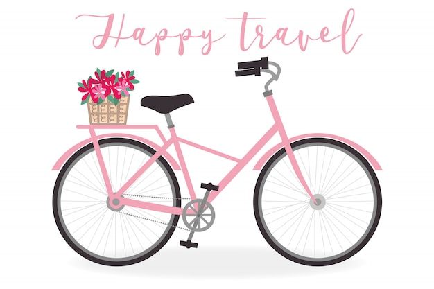 Cute bicycle illustration for summer theme - vector art Premium Vector