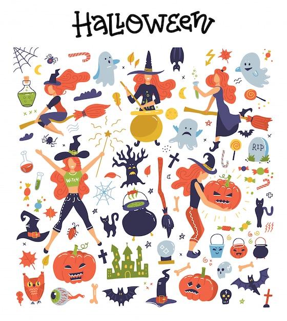 할로윈 삽화와 아이콘 호박, 유령, 고양이, 박쥐, 젊은 마녀, 장식 클립 아트와 함께 귀여운 큰 세트. 프리미엄 벡터