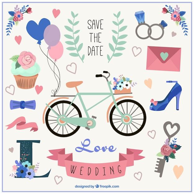 Cute bike and wedding elements