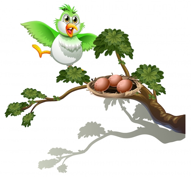 A cute bird at the branch of a tree with a nest Free Vector