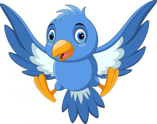 Cute Bird Cartoon Flying Premium Vector