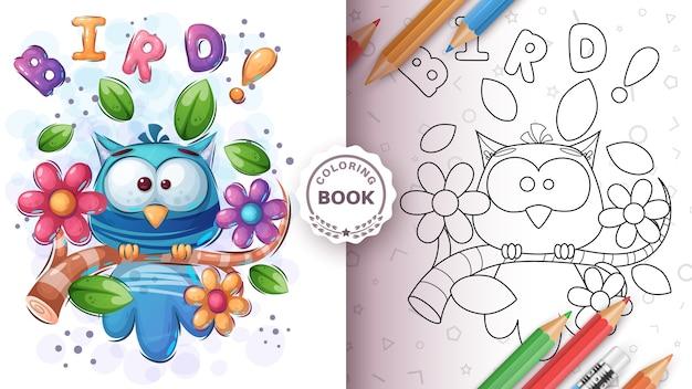 Grazioso uccello in fiore - libro da colorare Vettore gratuito