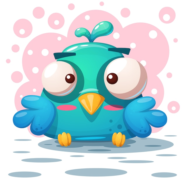 Cute bird illustration. cartoon characters. Premium Vector