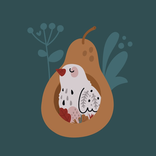 Cute bird in the nest Premium Vector
