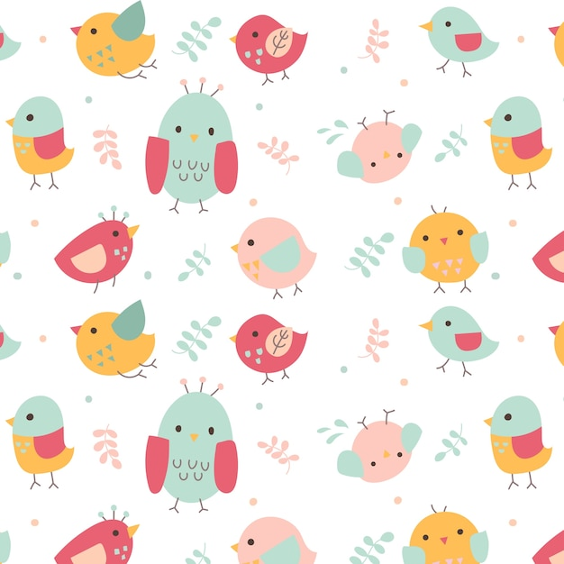 cute bird pattern vector