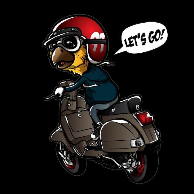 Cute bird riding scooter Premium Vector