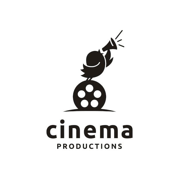 Cute bird with film equipments. good logo design for move maker / cinematography Premium Vector