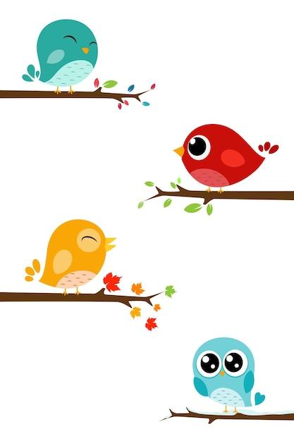 Cute Birds Cartoon On Branch Premium Vector
