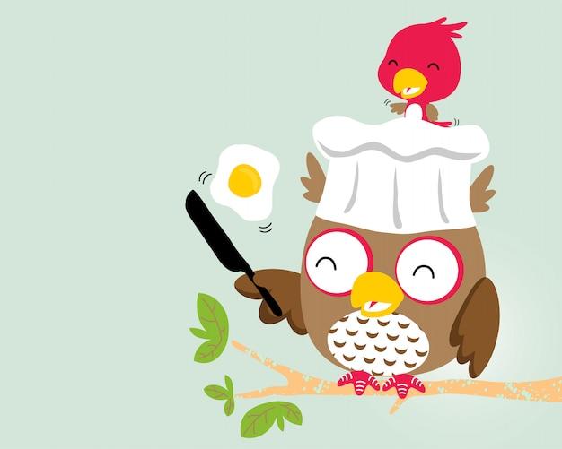 Cute birds cartoon cooking Premium Vector