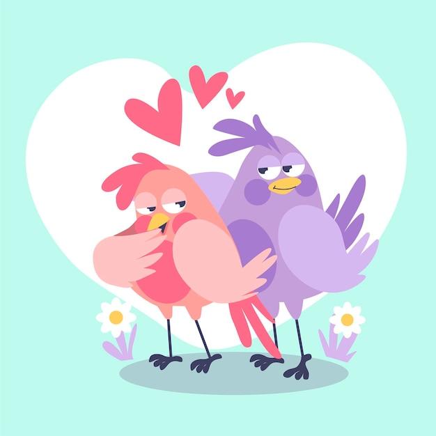 Милая пара птиц проиллюстрирована Бесплатные векторы