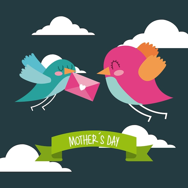 cute birds flying with envelope in beak mothers day message vector