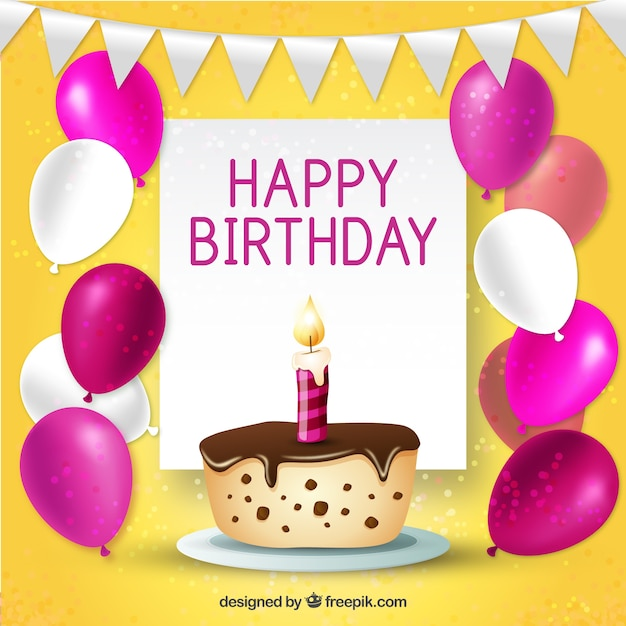 Cute Birthday Background With A Cake And Balloons Vector Free Download