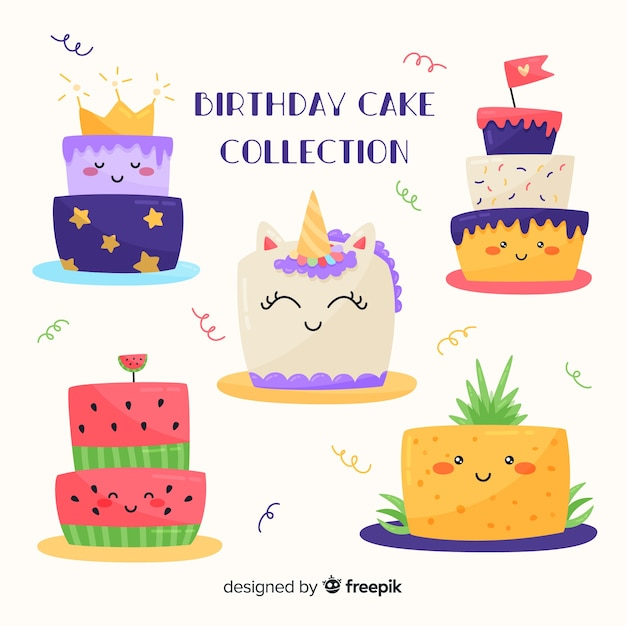 Astounding Cute Birthday Cake Set Free Vector Funny Birthday Cards Online Overcheapnameinfo