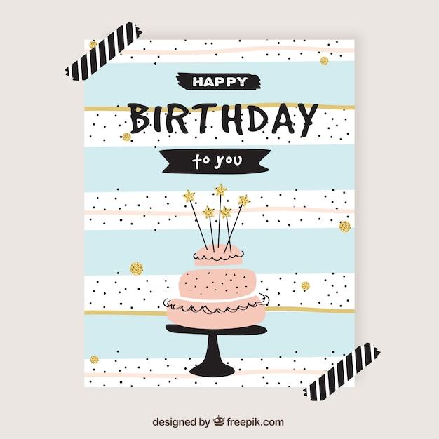 Cute birthday card in retro style Free Vector