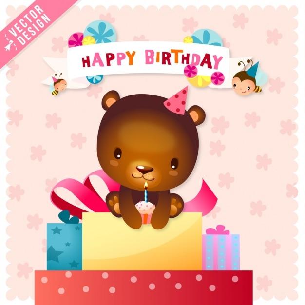 Cute birthday card with a bear Vector – Birthday Card Bear