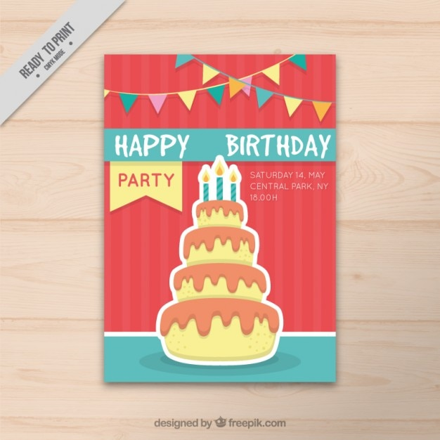 Cute birthday card with a cake