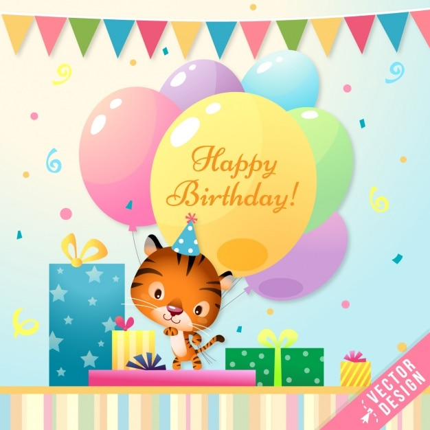 Cute Birthday Card With A Tiger Vector Free Download