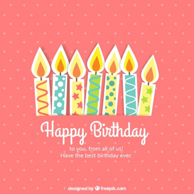 Cute birthday card with candles vector free download cute birthday card with candles free vector bookmarktalkfo