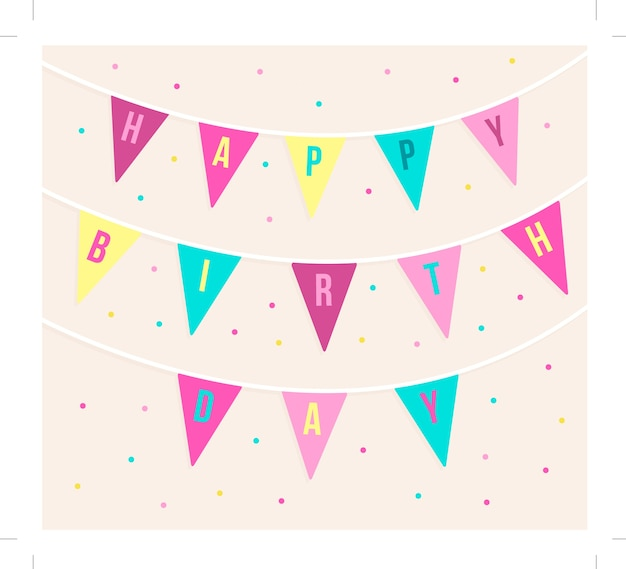 Cute birthday card with garlands and\ dots