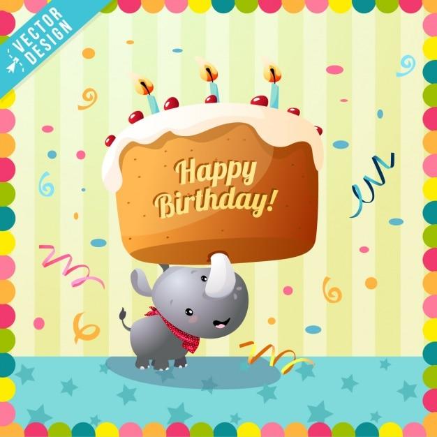 Cute birthday card with a rhino Free Vector