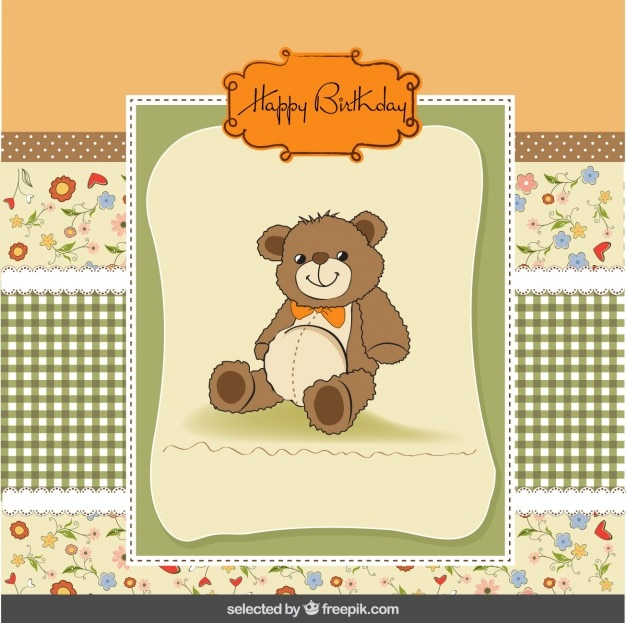 Cute Birthday Card With Teddy Bear Vector
